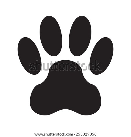 Animal footprint isolated on white background. Dog paw icon or sign. Vector illustration. - stock vector