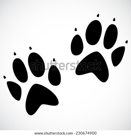 Animal footprint isolated on white background. VECTOR illustration. - stock vector