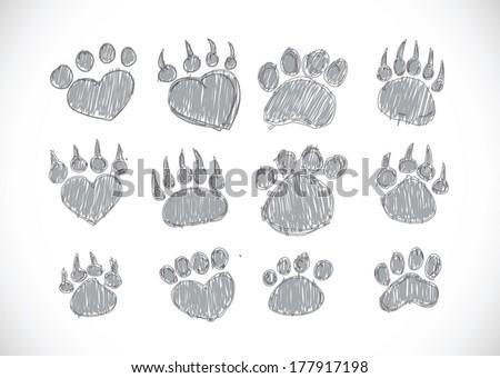 Animal footprints silhouettes - stock vector