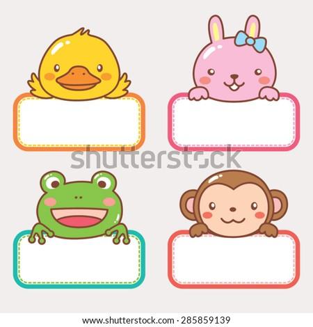 Animal Frame Chick Rabbit Frog Monkey Stock Vector 285859139 ...