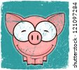 Animal grunge card with funny cartoon pig. - stock vector