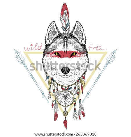 animal hand drawn illustration, wolf indian warrior,  native american poster - stock vector