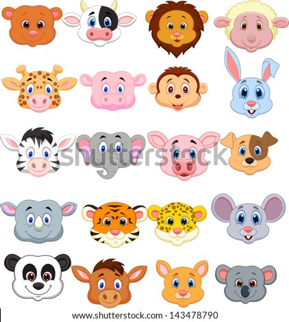 Animal head cartoon collection set - stock vector