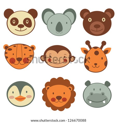 Animal head icons collection. Vector format - stock vector