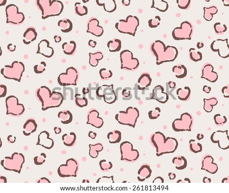animal hearts seamless background - stock vector