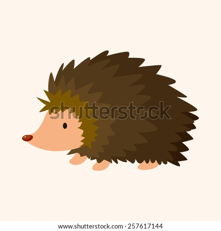 animal Hedgehog cartoon theme elements - stock vector