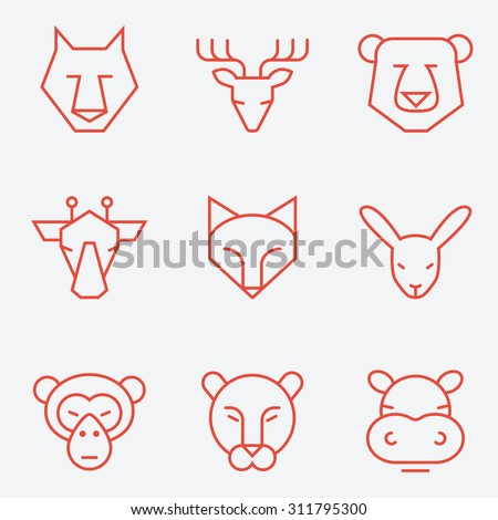 Animal icons, thin line style, flat design - stock vector