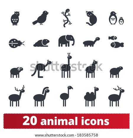 Animal icons. Vector set of simple silhouettes: wildlife and domestic pets. - stock vector