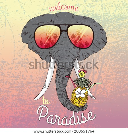 animal illustration, fashion portrait of elephant with exotic cocktail, Hawaii style, summer t-shirt print - stock vector