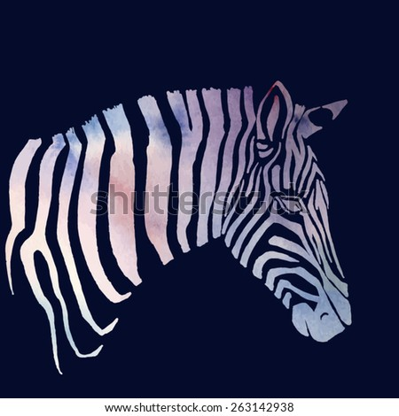 Animal illustration of watercolor zebra silhouette. Vector