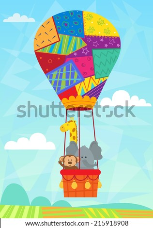 Animal In Hot Air Balloon - Baby animals in a quilted hot air balloon. Eps10 - stock vector