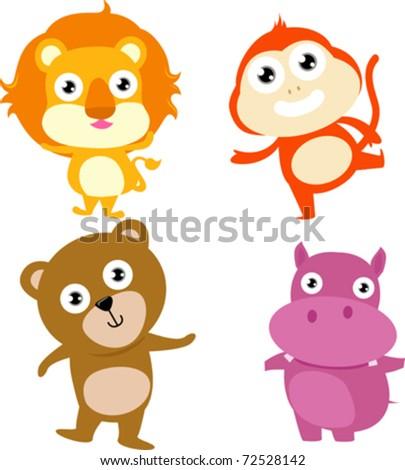 animal:lion,monkey,hippo,bear - stock vector