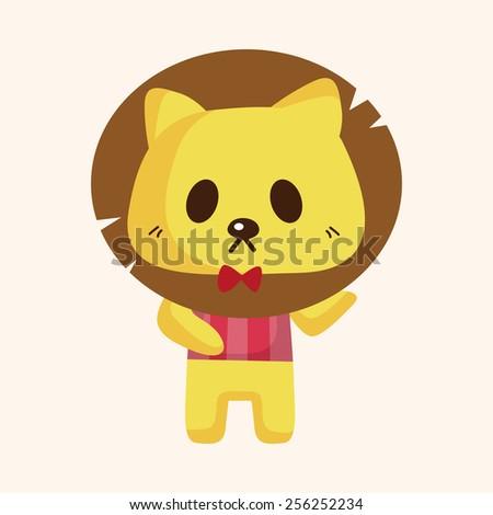 animal lion waiter cartoon theme elements - stock vector
