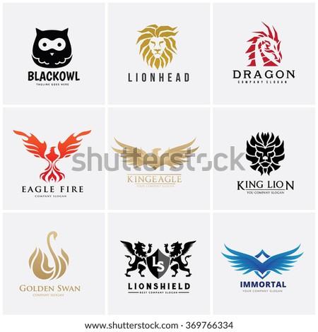 Animal logo collection,lion logo,dragon logo,eagle logo,bird logo,swan logo,vector logo template  - stock vector