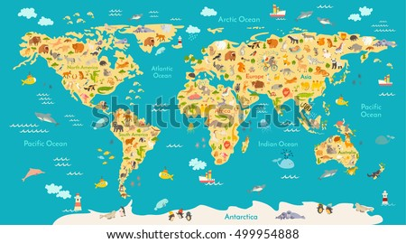 Animal map kid world vector poster stock vector 499954888 animal map for kid world vector poster for children cute illustrated preschool cartoon gumiabroncs Choice Image