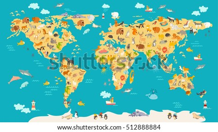 World mammal map beautiful cheerful colorful vectores en stock animal map for kid world vector poster for children cute illustrated preschool cartoon gumiabroncs Image collections