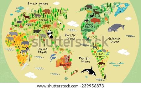 Animal Map World Children Kids Stock Vector 239956873 Shutterstock