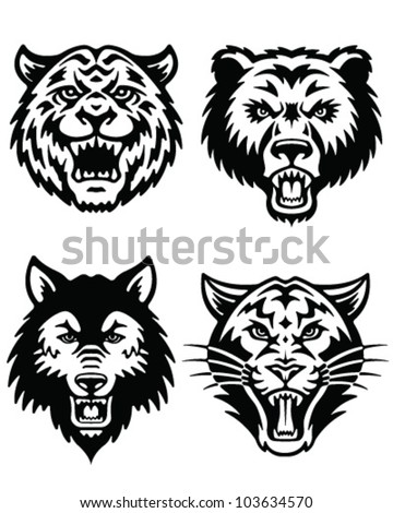 Animal Mascot Vector Logo Set - stock vector