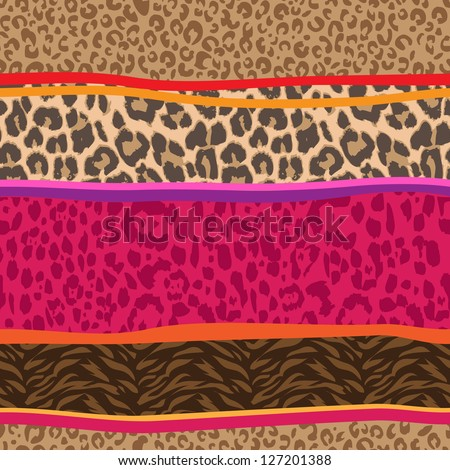 animal mix seamless background - stock vector