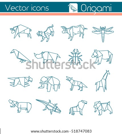 Animal Origami Vector Icons