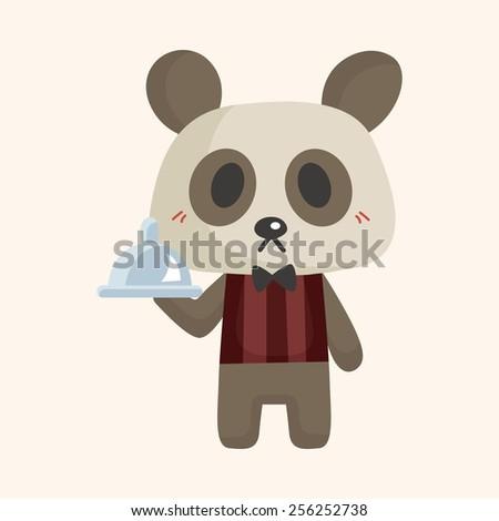 animal panda waiter cartoon theme elements - stock vector