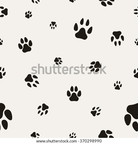 Animal Paw Print Isolated on White. Seamless Texture. Illustration, vector EPS10.