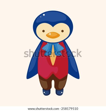 animal penguin waiter cartoon theme elements - stock vector