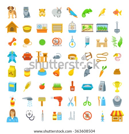 Animal pets grooming and health care flat colorful vector icons, isolated on white. Simple bright symbols of cages, nutrition, toys and accessories for domestic animals. Infographic design elements - stock vector