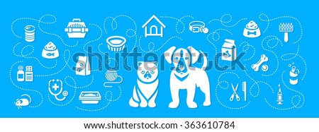 Animal pets grooming and health care vector flat horizontal header banner. Background with silhouettes icons of cat and dog, food, toys and accessories. Pet shop, vet clinic concept with shadows - stock vector