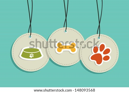 Animal Pets hang tags icons set. Vector file layered for easy manipulation and custom coloring. - stock vector