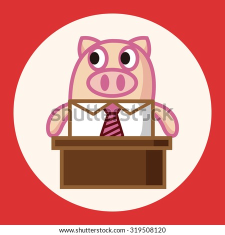 Pig Dressed White Shirt Tie Making Stock Vector 374455432 ...