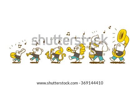 animal play music - stock vector