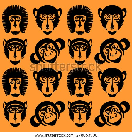 Animal Portrait Monkey. Icons collection. Seamless vector  - stock vector