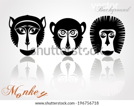 Animal Portrait Monkey. Icons collection. Vector Illustration  - stock vector