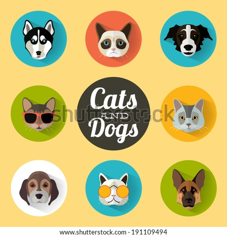 Animal Portrait Set with Flat Design / Cats and Dogs / Vector Illustration - stock vector