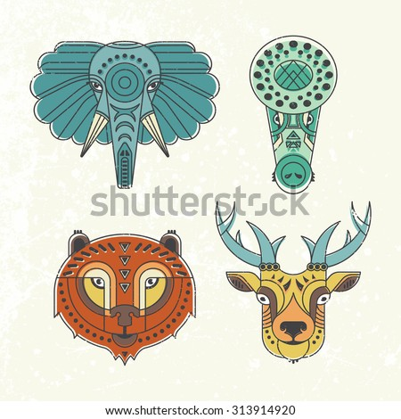 Animal portraits made in unique geometric flat style. Vector heads of cute animals. Isolated icons for your design.  - stock vector