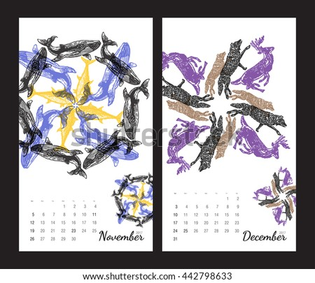 ... fractals on white background. Set 6 - November and December pages