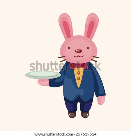 animal rabbit waiter cartoon theme elements - stock vector