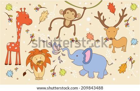 Animal Safari Doodle - stock vector