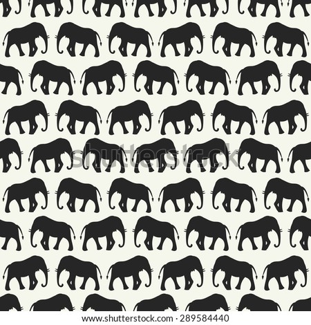 Animal seamless retro vector pattern of elephant silhouettes. Endless texture can be used for printing onto fabric, web page background and paper or invitation. White, black colors. - stock vector