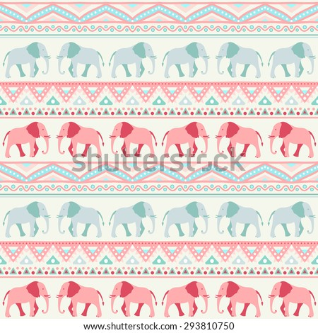 Animal seamless retro vector pattern of elephant silhouettes. Endless texture can be used for printing onto fabric. With doodle stripes. White, blue, red and yellow colors. - stock vector