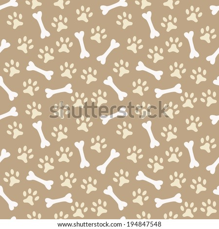 Animal seamless vector pattern of paw footprint and bone. - stock vector