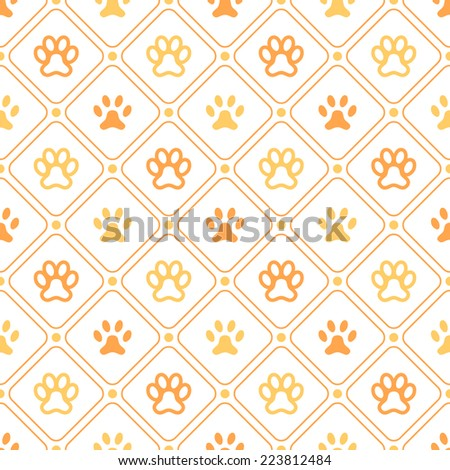 Animal seamless vector pattern of paw footprint, line and dot. Endless texture can be used for printing onto fabric, web page background and paper or invitation. Dog style. White and orange colors. - stock vector