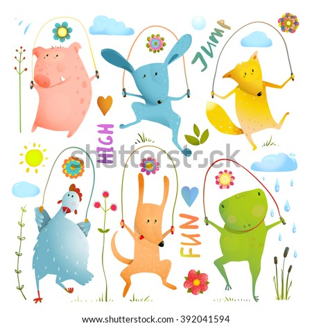 Animal Set Jumping Rope Colorful Collection. Childish pets skipping watercolor style. Dog and frog, rabbit and pig, hen and fox, cartoon vector illustration.