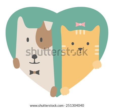 Animal set. Portrait of a dog and cat in love in flat graphics over a heart backdrop - stock vector