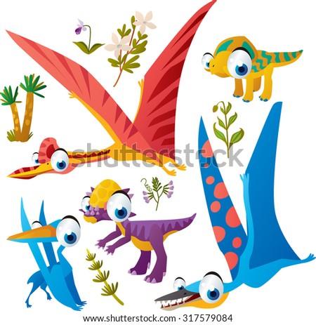 Animal set: vector cute comic dinos: quetzalcoatl, protoceratops, pterodactyl, pachycephalosaurus - stock vector
