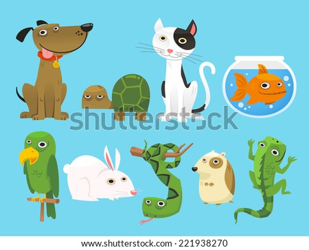 Animal set, with Dog, Turtle, Cat, Bowl Fish, Parrot, Bunny, Snake, Lizard, Mouse. Vector Illustration Cartoon. - stock vector