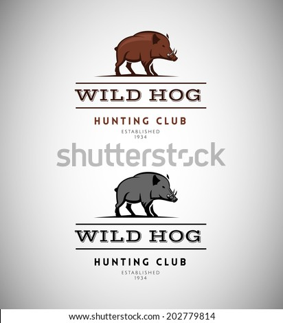 Animal silhouette logo vector design template. Wild hog emblem for a hunting club  - stock vector