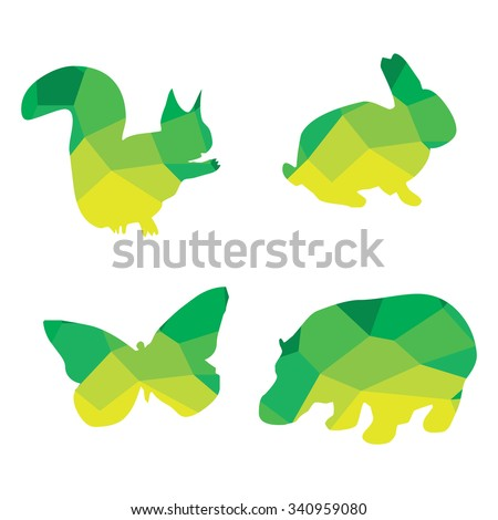 animal silhouette polygonal and triangular for logo or icon - stock vector