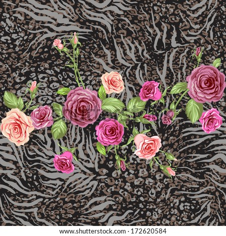 Animal skin and rose seamless pattern. Repeating  background. - stock vector
